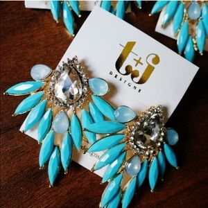 Blue Crystal Teardrop Feather Earrings
